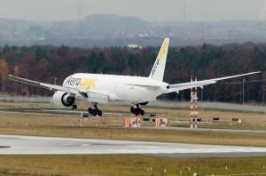 Aerologic Boeing 777F on approach to Frankfurt's runway 25R.