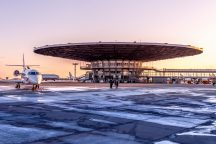 Airport Moscow Sheremetyevo SVO Terminal B during sunset