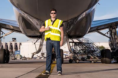 Felix Gottwald in front of Lufthansa Cargo MD-11